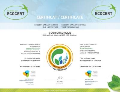 Ecocertification - Communautique obtient la certification ÉCORESPONSABLE
